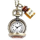 OFKPO Relojes de Bolsillo de Cuarzo con Cadena y Mini Botella,Vintage